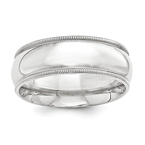(925 Sterling Silver 10mm Comfort Fit Milgrain Wedding Ring Band Size 4)