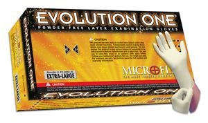 "Microflex EV-2050-XS Evolution One Powder-Free Examination Glove, Latex, 9.6"" Length, 3.9"" Cuff Thickness, 5.5"" Palm Thickness, 5.9"" Finger Thickness, X-Small, Natural (Pack of 100)"