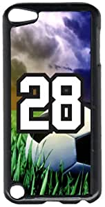 Soccer Sports Fan Player Number 28 Black Plastic Decorative iPod iTouch 5th Generation Case