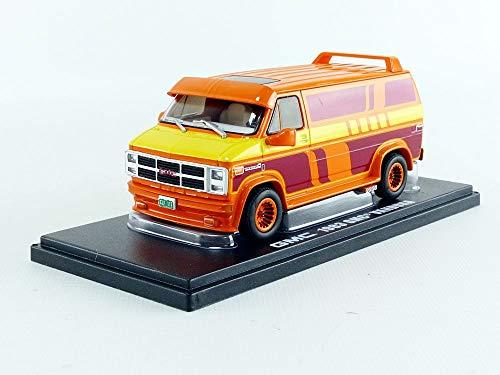 1983 GMC Vandura Custom Orange with Custom Graphics 1/43 Diecast Model Car by Greenlight 86327