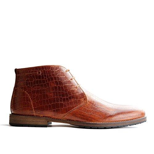 Travelin Liverpool Krokodilleder Chukka Boots | Schnürhalbschuhe Herren | Freizeitschuhe Hochzeitschuhe | Business Schuhe Anzugschuhe | Braun & Grau Cognac