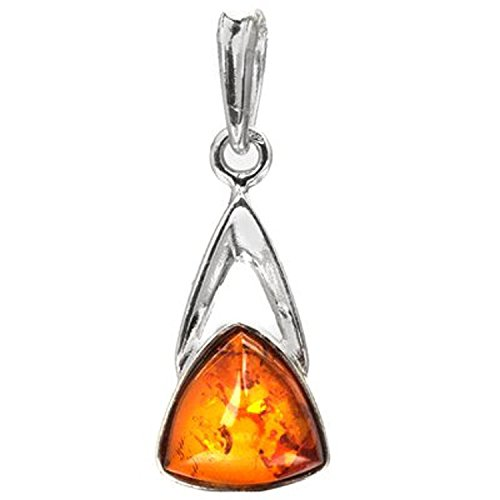 Amber Triangle Pendant (Sterling Silver Amber Small Triangle Pendant)
