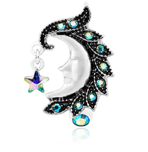 Face Belly Ring - Heavenly Moon Face Reverse Drop Top 316L Surgical Steel Freedom Fashion Belly Button Ring (Sold Individually)