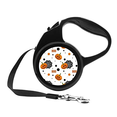 Retractable Dog Leash, 7ft Dog Walking Leash for Small Dogs up to 26lbs, One Button Break & Lock, Unique Design - Cute Halloween Pumpkin, Lollipop and Spider Web Pattern