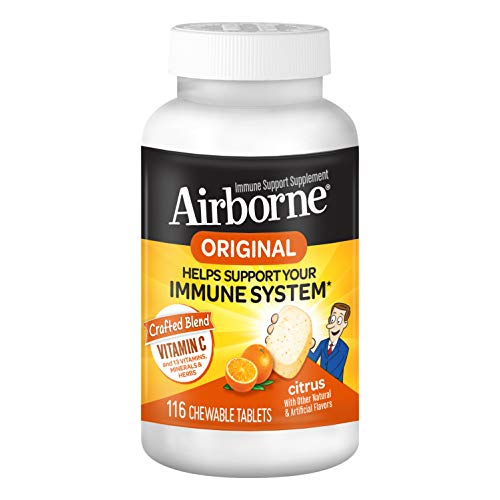 Vitamin C 1000mg (per serving), Airborne Citrus Chewable Tablets (116 count in a bottle), Gluten-Free Immune Support…