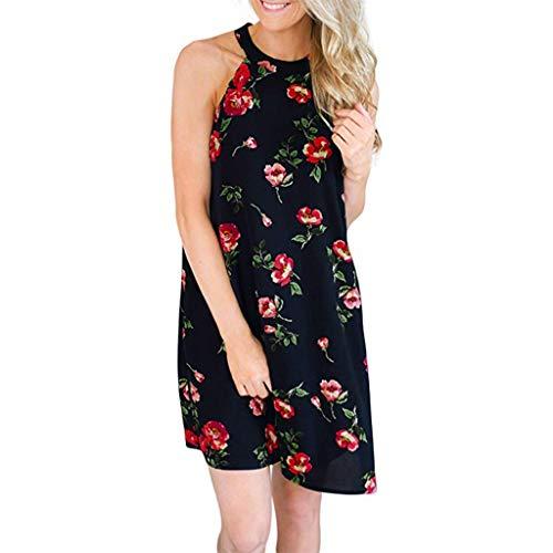Weiliru Women's Summer Casual Floral Sleeveless Loose Plain Mini Dress Navy]()