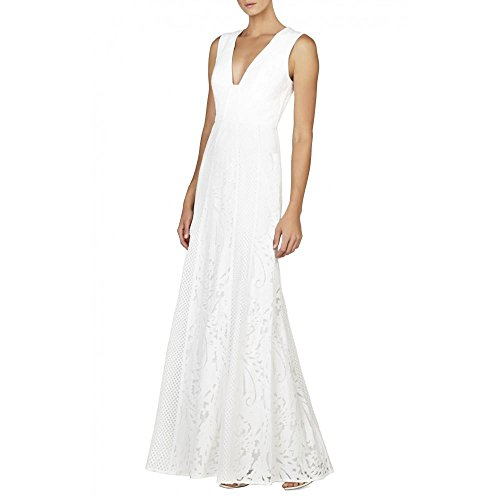 BCBGMAXAZRIA BCBG Maxazria Elisia Sleeveless Lace Blocked Gown Dress LSS66C54-100 Bcbg Lace Dress