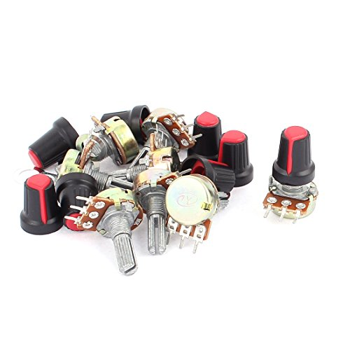 uxcell 8Pcs B5K 5Kohm 20mm Linear Rotary Shaft Audio Taper Potentiometers Red (Audio Taper)