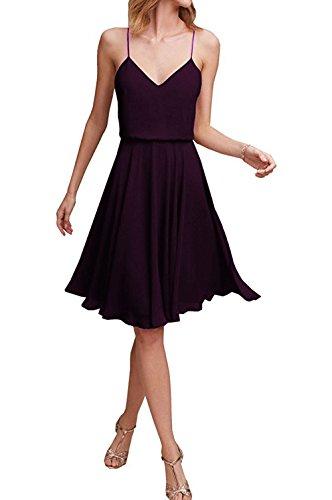 (EDressy Short Bridesmaid Dresses Chiffon Prom Party Dress V-Neck Wedding Formal Gowns Grape US 24W)