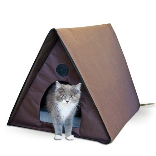 Outdoor Heated Multiple Kitty A-Frame Chocolate 35'' x 20.5'' x 20'' (3 Pack)