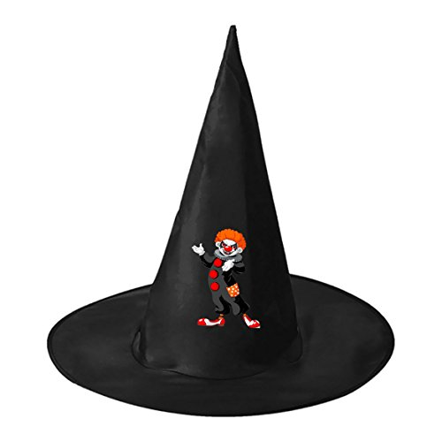 Evil Clown. Black Witch Hat Costume Accessory For Party & Halloween & (Spirit Halloween Giggles The Clown)