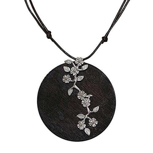 NOVICA .925 Sterling Silver Accented Wood and Leather Pendant Necklace