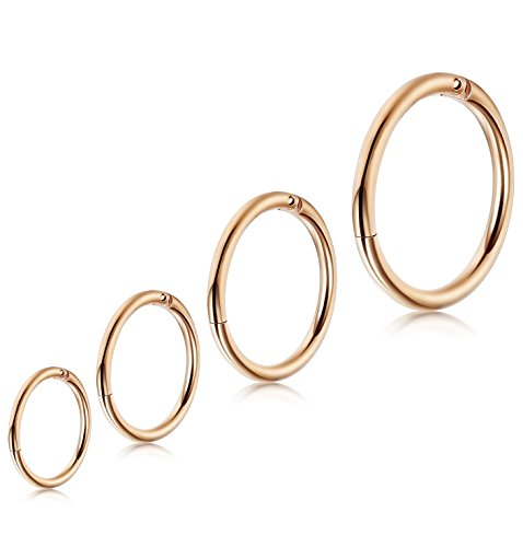 LOLIAS 4 Pcs 6-12mm 16g Stainless Steel Cartilage Hoop Earrings for Men Women Nose Hoop Ring Helix Septum Couch Daith Lip Tragus Piercing Jewelry,Rosegold-Tone