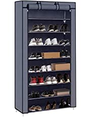 PATIOSNAP 8-Tier Shoe Rack Canvas Shoe Storage Cabinet,iron pipes and plastic connectors, Shoe Rack Standing for Living Room, Hallway, Shoe Organiser with Dustproof Cover