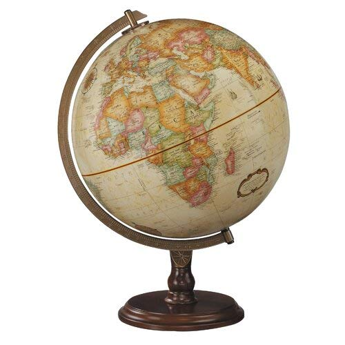 - 12 Inch Antique Ocean World Globe with Walnut Wood Base Stand Political Map Office School Home Desktop Decor