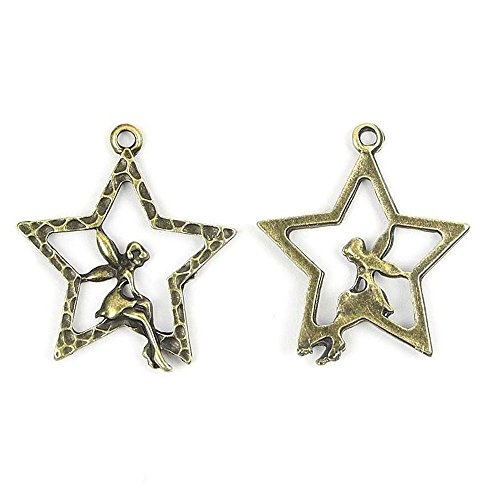 Price per 40 Pieces Fashion Jewelry Making Charms Findings Arts Crafts Beading Antique Bronze Tone 20840 Star Fairy Elf