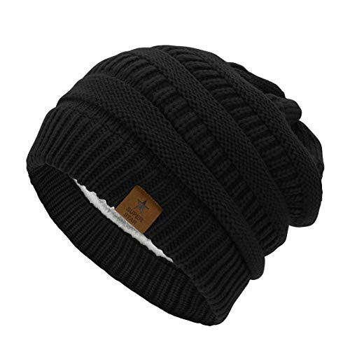 Durio Womens Knit Beanie Thick Solid Fleece Lined Winter Beanie Hats for Women Warm Slouchy Beanies Black One Size ()