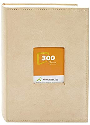 """Golden State Art Photo Album, Holds 300 4""""x6"""" Pictures, 3 per Page, Suede Cover (Classic A25 Collection)"""