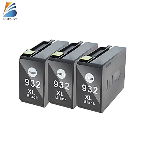 Bosumon 3PK 932 XL Black Ink Cartridge ( High Compacity ) Compatible For HP Officejet 6600 6100 6700 7110 7610