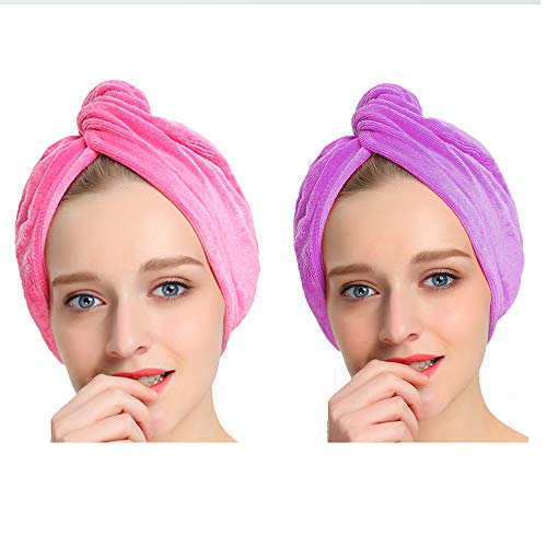 AuroTrends Microfiber Hair Towel Turban Large Wrap Turban Cap 2 Pack- Ultra Absorbent Drastically...