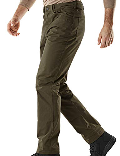 CQR Men's Flex Stretch Tactical Work Outdoor Operator Rip-Stop Trouser Pants EDC, Flexy Straight(tfp500) - Tundra, - Ripstop Pants