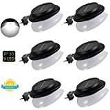 LED Gutter Lights Outdoor,SMY Upgrade Solar Gutter Lights with Adjustable Bracket, IP55 Waterproof Solar Fence Lights for Patio, Garden, Wall, Yard, Attic, Walkway (6pcs, Pure white)