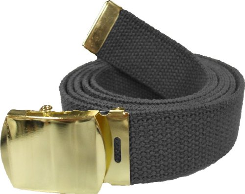 100% Cotton Military 54' Web Belt (Black Belt w/ Gold Buckle)
