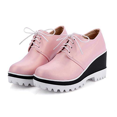 Amoonyfashion Up scarpe Rotonda Solidi Lace Delle Alti Tacchi Donne Pompe Rosa Chiusa Punta SOgqawn