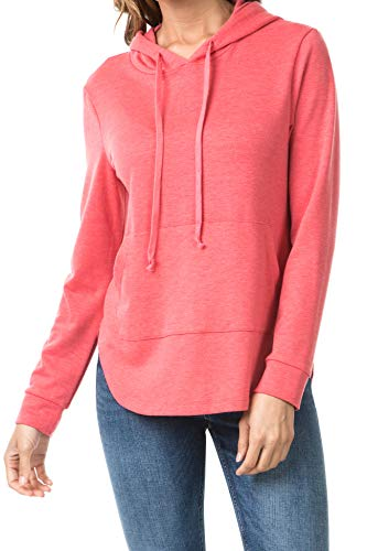 iliad USA 7023 Womens Loose Fit Pullover Sweatshirts Hoodie Coral 3XL