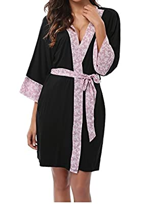 Old-Times Women's Elegant Modal Short Kimono Bathrobe with Floral Trim