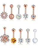 Tornito 10PCS 14G Stainless Steel Belly Button Rings CZ Navel Rings for Women Girls Barbell Body Piercing Jewelry Silver Rose Gold Tone