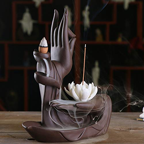 m·kvfa Buddha Hand Flower Ceramic Incense Burner Incense Holders with 10X Incense Cones for Reduce Stress Anxiety Depression and Headaches (Lotus)