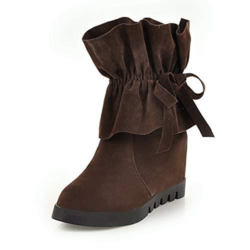 43 A El Botas Felpa Alto Estrenar Botines Brown 34 Cálido Invierno Más Mujer Hoesczs Tacón Tamaño De Zapatos YdgxqYZ