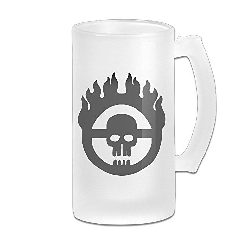 Mad Max Skull Logo Grind Beer Glass Mug White (Gibson Girl Wig)