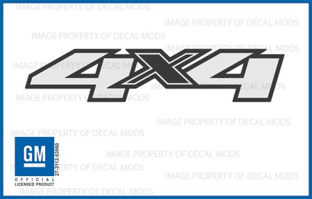 Chevy Silverado 4x4 Decals Stickers - F (2007 - 2013) bed side (4 X 4 Decal)