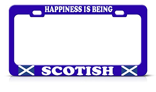 Moon Happiness is Being Scottish Heavy Steel Blue License Plate Frame Tag Border Perfect for Men Women Car garadge Decor ()