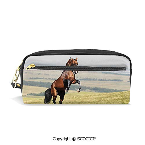 Fasion Pencil Case Big Capacity Pencil Bag Makeup Pen Pouch Bay Akhal Teke Horse Stallion Rearing on The Field Noble Mammal Outdoors Pastoral Durable Students Stationery Pen Holder for School