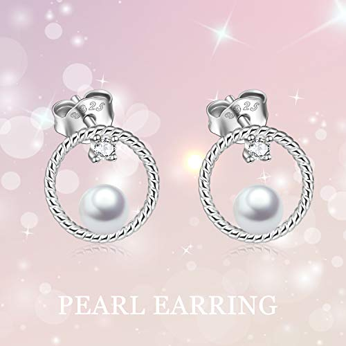 Circle Stud Earrings Sterling Silver Pearl Hoops Rope Circle Ear Studs for Women Girls (Circle Stud Earrings) by POPLYKE (Image #4)
