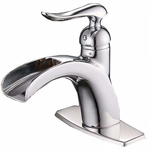 BWE Waterfall Spout Single Handle One Hole Chrome Bathroom Sink Faucet Deck Mount lavatory Faucets Commercial ()