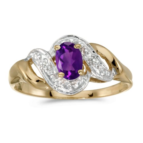 10k Yellow Gold Oval Amethyst And Diamond Swirl Ring (Size 9.5) ()