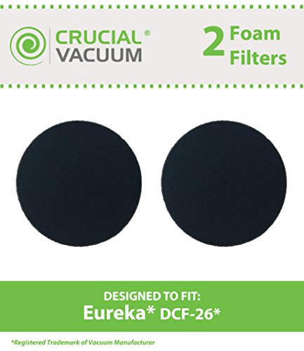 2 Replacements for Eureka DCF-26 Foam Filter Fits AirSpeed ONE, AirSpeed Zuum, & PowerGlide, Compatible With Part # 090190 & 68465, by Think Crucial - Eureka Foam Filter