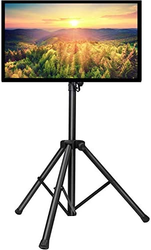 PERLESMITH TV Tripod Stand-Portable TV Stand for 23-55 Inch LED LCD OLED Flat Screen TVs-Height Adjustable Display Floor TV Stand with VESA 400x400mm, Holds as much as 88lbs