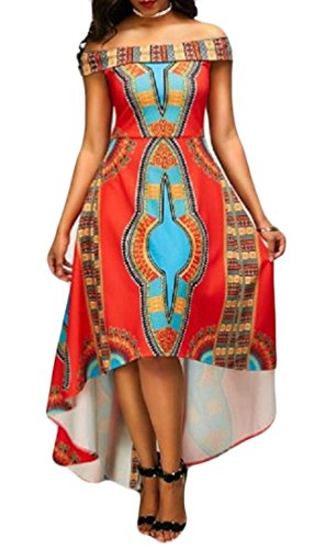 Beloved Off Shoulder Dress,Women's Dashiki Africa Print Irregular Party Swing Dresses Picture Color XS by Be Loved