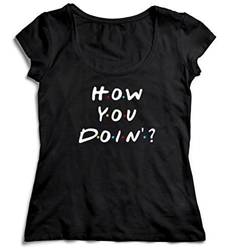 MYMERCHANDISE How You Doin Friends TV Show Joe Women Women's Lady T-Shirt Shirt Black Soft Organic Cotton Womens MD Women's Black T-Shirt - Ladies Show Shirt