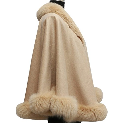 Oversized Cashmere Shawl Wrap Cape - HOMEYEAH Women's Luxurious Real Fox Fur Trimmed Winter Poncho Coat by HOMEYEAH