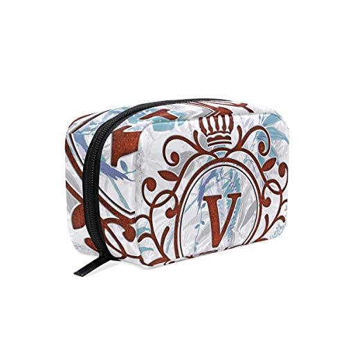 Monogram Canvas Jewelry Case - Monogram Makeup Bag Organizer Portable Cosmetic Pouch Handbag With Zipper For Women Purse