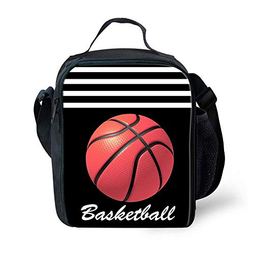 Fashion Football Basketball Printed Backpacks School Fashion Shoulder Bag wth Lunch Bag 2 Sets Basketball - only lunch bag