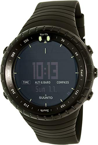 Suunto Core All Black Digital Display Quartz Watch, Black Elastomer Band, Round 49.1mm Case