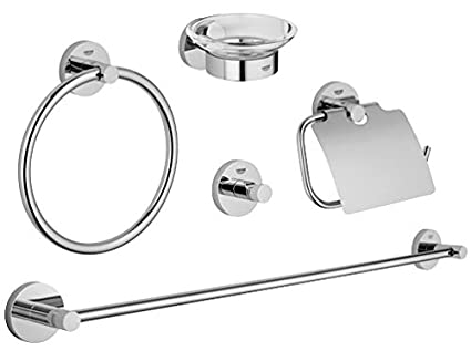 GROHE Set Accessori Bagno 5-in-1 Essentials Cromo 40344001: Amazon ...