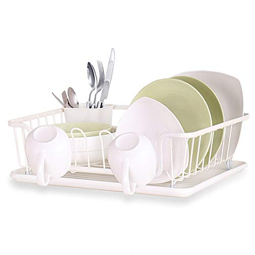 Dish Drying Rack Large Drainer - Kitchen Rustproof Piano Lacquer Coated Storage Basket, Drip Tray, Utensil and Cup Holders Included